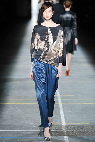 Remeron estampado pantalon saten recto Dries Van Noten