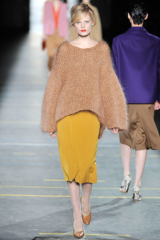 Sweater amplio tejido falda recta Dries Van Noten