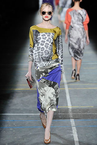 Vestido manga larga con recortes estampados Dries Van Noten