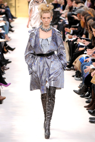 Vestido trench gris tornasolado Louis Vuitton