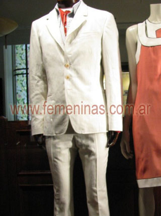 Traje lino blanco tizado pantalon angosto  PAUL SMITH