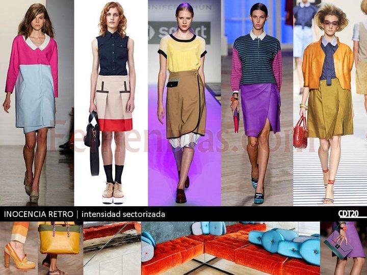 Se usa mucho las prendas con colores poniendo intensidaen sectores ya sea o la falda  o la blusa o bien vestidos combinados