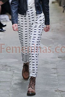 Pantalon blanco rayas negras Fashion East