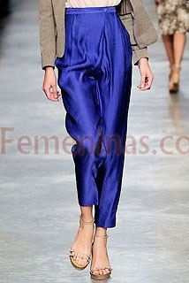 Pantalon capri saten azul Stella Mccartney