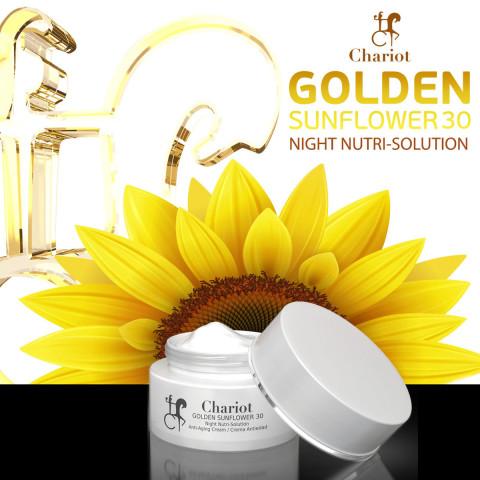 30 noches de hidratación profunda con extracto de girasol, las vitaminas de la belleza