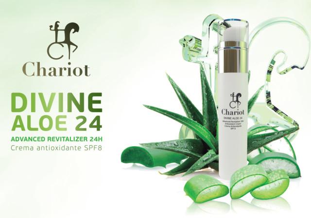 24 horas de hidratación facial y protección antioxidante avanzada con Divine Aloe 24 de Chariot Cosmetics
